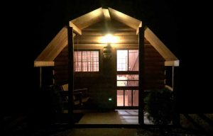 KOA Campground Cottage Exterior at Night