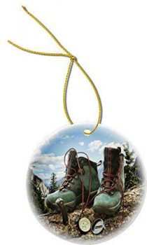 Hiking Boots Compass Design Round Porcelain Christmas Ornaments by OSWALDO
