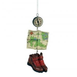 Hiking Christmas Tree Ornament Features Hiking Boots, a Compass and a Map