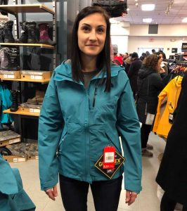 Erin Trying On A Womens North Face Dryzzle Jacket