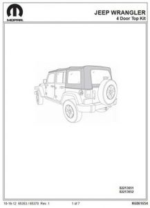 Jeep Wrangler JK Unlimited Soft Top Installation Instructions 82213651 82213652