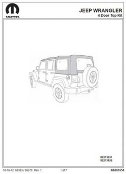 Download Jeep Wrangler JK Unlimited Soft Top Installation Instructions 82213651 82213652