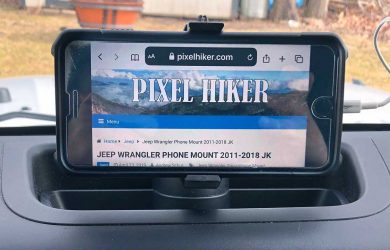 Picture of a Rugged Ridge Phone Mount Review Jeep JK JKU Installed